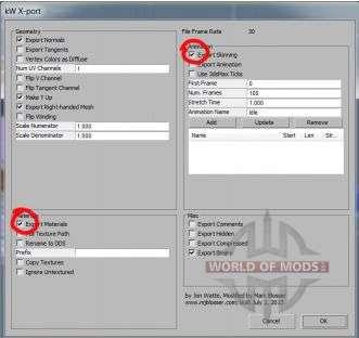 diálogo Exportar em kW X-porta