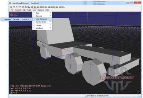 visualização do Modelo em Havok Depurador do Visual