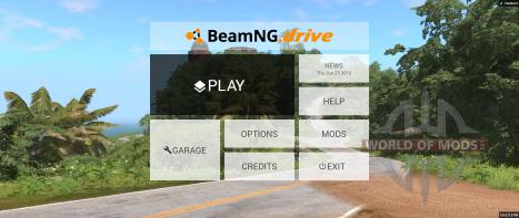 Novo menu principal BeamNG Drive