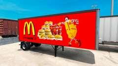Peles de fast food Americano reboques para