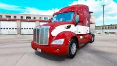 Vermelho-branco de pele para o caminhão Peterbil