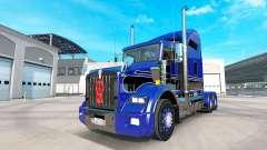 A pele Azul-preto no caminhão Kenworth T800