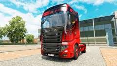 A pele de Preto E Vermelho, para trator Scania R