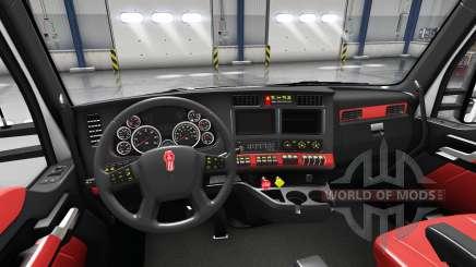 Interior vermelho Kenworth T680 para American Truck Simulator