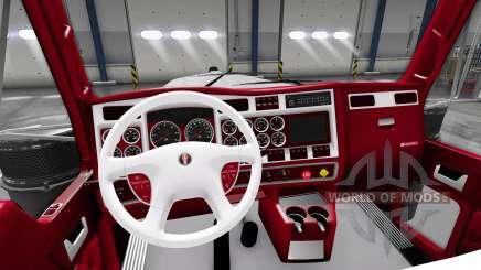 A vermelha-e-branca, interior Kenworth W900 para American Truck Simulator