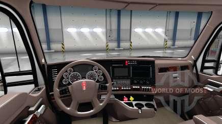 Luxo marrom interior Kenworth T680 para American Truck Simulator