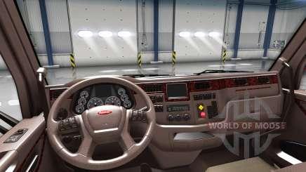 Luxo marrom interior Peterbilt 579 para American Truck Simulator