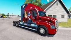 Pele Mandy no trator Freightliner Cascadia