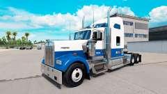 A pele Azul-branco-caminhão Kenworth W900