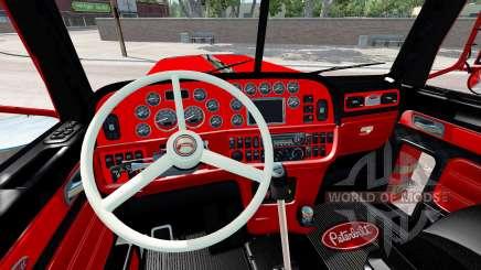 O interior é Vermelho e Preto Peterbilt 389 para American Truck Simulator