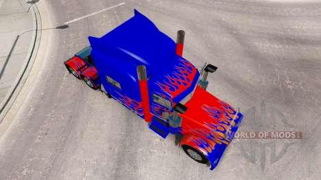 Pele Optimus Prime v2.1 para o caminhão Peterbilt 389 para American Truck Simulator