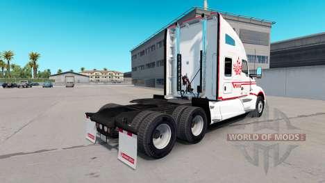 Pele Canadense Express Branco trator Kenworth para American Truck Simulator