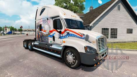 Скин Bay&Bay POW MIA на Freightliner Cascadia para American Truck Simulator