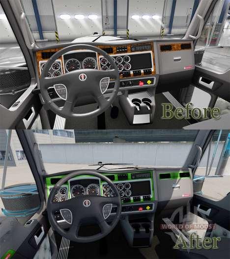 Interior Verde-cinza para Kenworth W900 para American Truck Simulator