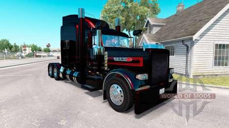Скин Preto Metalizado Listras на Peterbilt 389 para American Truck Simulator