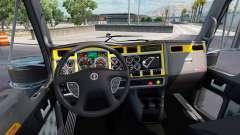 O interior é Amarelo-cinza para Kenworth W900