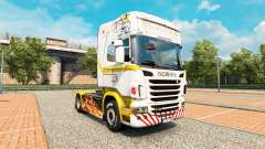A pele de ouro Branco no trator Scania