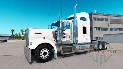 A pele da terra nova Bandeira no caminhão Kenworth W900 para American Truck Simulator