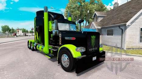Pele Monster Energy Verde no caminhão Peterbilt  para American Truck Simulator