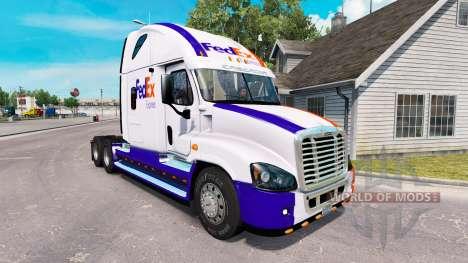 A pele da FedEx caminhão Freightliner Cascadia para American Truck Simulator