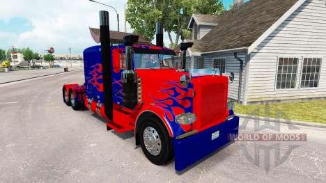 Optimus Prime skin para o caminhão Peterbilt 389 para American Truck Simulator