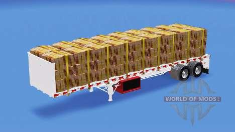 Semi-reboque-plataforma com diferentes cargas de para American Truck Simulator