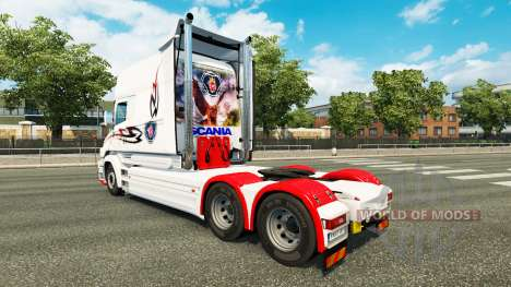 A pele branca para caminhão Scania T para Euro Truck Simulator 2