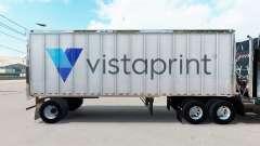 Pele Vistaprint em um pequeno trailer