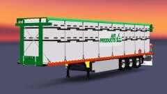Semi-reboque-plataforma com uma carga de cilindr