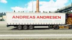Pele Andreas Andresen na cortina semi-reboque