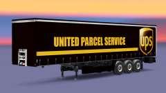 Pele United Parcel Service em uma cortina semi-r