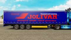 Pele Jolivan Transportes em uma cortina semi-reb