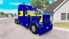A pele Azul-amarelo para o caminhão Peterbilt 38