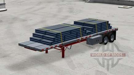 Dois eixos do semi-reboque de plataforma com a carga para American Truck Simulator