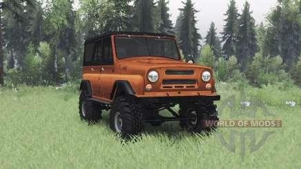 UAZ 469 laranja v1.1 para Spin Tires